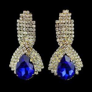 Blue Sapphire CZ Teardrop Drop Pierced Earrings